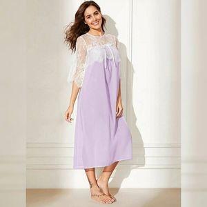 Bow Front Sheer Lace Yoke Night Dress